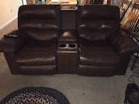 two electric leather reclining couches