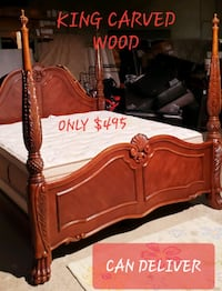 KING CARVED MAHOGANY BED FRAME CAN DELIVER  Hampton, 23661