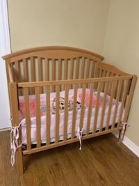 Crib, mattress, girl's bedding set, mobile