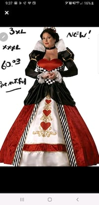 3XL XXL Womans Plus Size Adult Queen of Hearts Hal Canton