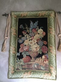 """European Floral Tapestry with rod, hardware and tassels. 31"""" X 46"""" Emerald Hills, 94062"""