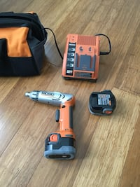 Ridgid 9.6V drill with charger, 2 batteries and a carrying bag Sterling, 20164