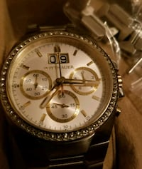 round silver Michael Kors chronograph watch with link bracelet El Centro, 92243