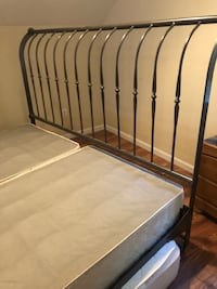 Black metal bed frame with white mattress Cali King iron cast iron bed frame  Skillman, 08558