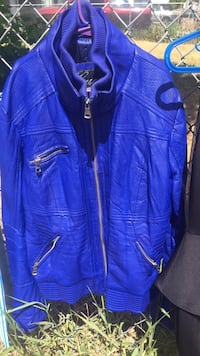 blue leather zip-up jacket Kamloops, V2B 3C3