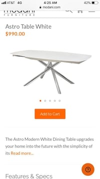 Beautiful new modern extendable Astro white dining table with 10mm tempered glass frame only 500$!!! Original price 990$!!!! San Leandro