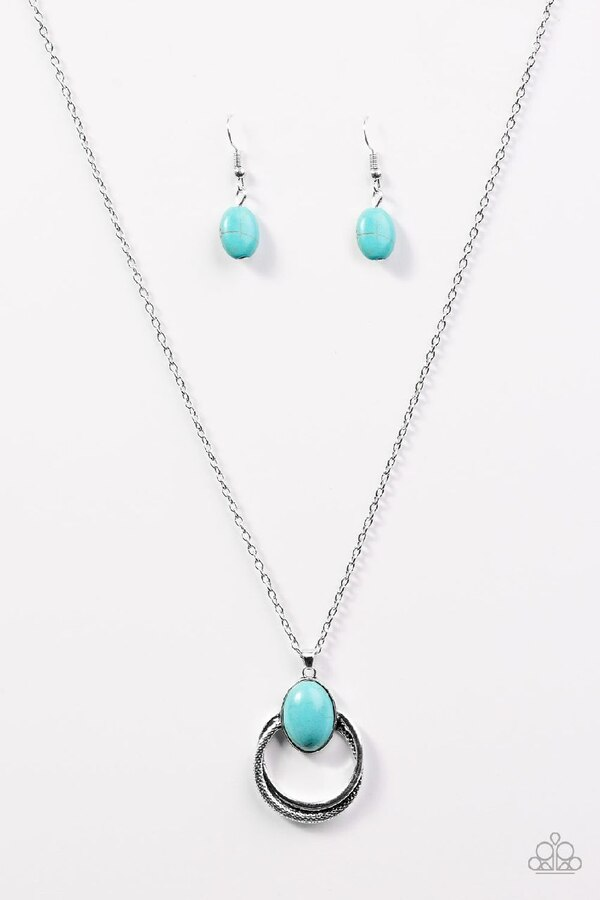 silver-colored teal gem pendant with anchor-chain necklace and pair of hook earrings