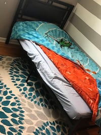 Black metal with leather headboard twin bed frame only Toronto, M1K 4P5