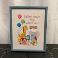 Cross Stitch Babies Touch The World With Love Framed Baby Nursery