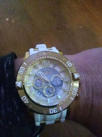 round gold-colored chronograph watch with link bra Reno, 89512