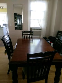 rectangular brown wooden table with six chairs dining set Keyport, 07735