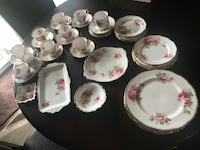White and pink floral ceramic dinnerware set Chilliwack, V2R 3X8