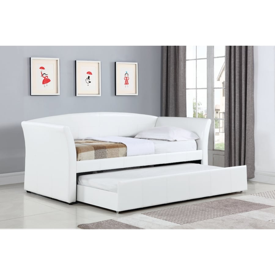 White faux leather day bed and trundle