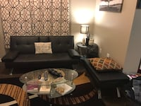 Black leather sectional sofa and throw pillows 1155 mi