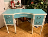Tiffany blue and white solid wood french desk vanity Kensington, 20895