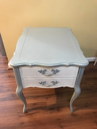 gray and white wooden 1 drawer nightstand