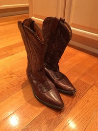 pair of brown leather j-toe cowboy boots TORONTO