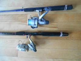 2 Fishing rods andreels, ready to fish