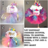 First birthday unicorn outifts $30 each! Brand new! Actual items in photo 2! Edmonton, T6W 2C3