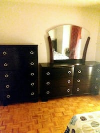 Ashley bed with dresser chest and 1 night table.