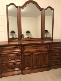 Quality wood bedroom set - triple dresser with mirror, armoire and two nightstands  Toronto, M3H 5X8
