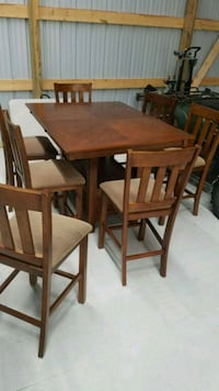 Dining table and seven chairs with top protector