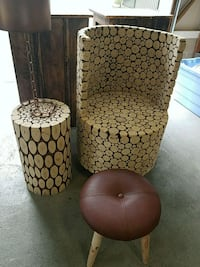Modern rustic wood carved chair and side table Wall Township, 08724