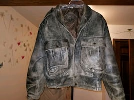 MENS BROWN LEATHER BOMBER JACKET BY CHAI
