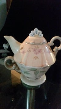 white and pink floral ceramic teapot Hamilton