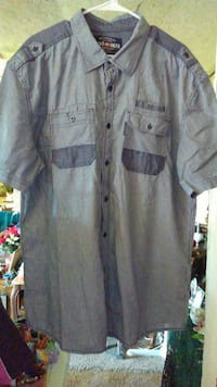 Gray With Blue Button-Up Shirt. Mens 2XL. New Waverly