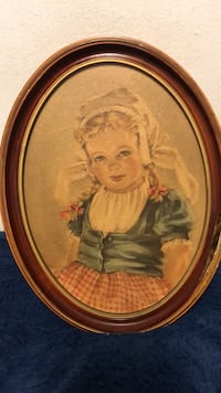 Vintage oval painting of Katrina by Anne Allaben