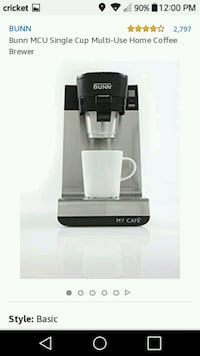 Bunn MCU single cup coffee maker. Maysville, 28555