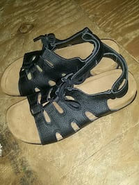 black-and-brown leather sandals
