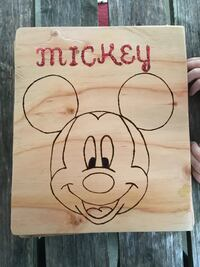 brown wooden Mickey Mouse printed wall decor 424 mi