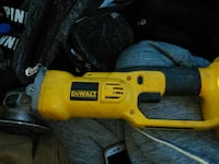 yellow and black DeWalt angle grinder