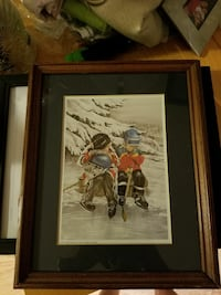 two boys wearing hockey gears sitting on bench beside snow pine tree painting Quinte West, K8V 2J7