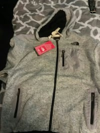 gray The North Face full-zip hoodie