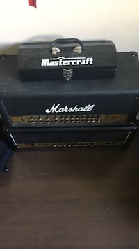 black and gold Marshall guitar amplifier with black mastercraft tool box Ottawa, K2C