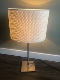 Cream and silver chrome table lamp