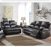 Motion group recliner sofa and love seat in pu fabric leather  Lombard, 60148
