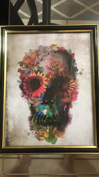 multi-Get your Christmas Gift- colored skull floral painting with brass frame