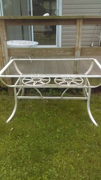 WHITE STEEL FRAMED GLASS TOP TABLE/PLANT STAND (GLASS NOT INCLUDED)  Manassas, 20109
