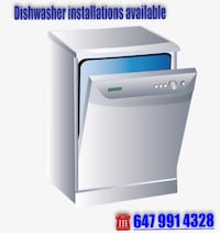 Dishwasher installation Milton, L9T 0L7