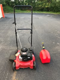 Lawn mower & gas can