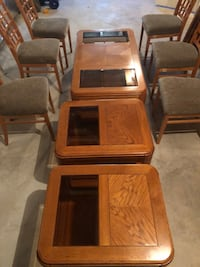 brown wooden framed glass top table 22 km