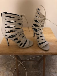 pair of gray open-toe gladiator sandals Bloomfield, 07003