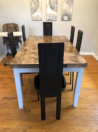 Marble dining table/ 6 chairs