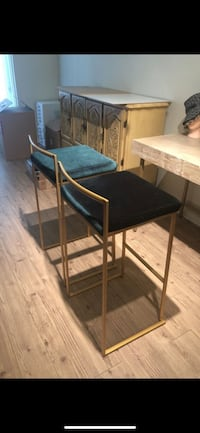 Gorgeous Green Emerald Velvet with Gold Barstools Los Angeles, 90036