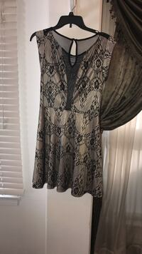 Lacey black and beige dress back side sheer