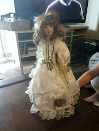 white dressed porcelain doll in white dress Barrie, L4N 6R5